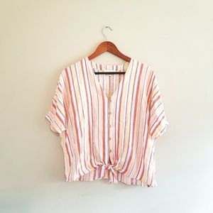 Cynthia Rowley Short Sleeve Button Tie Stripe Top